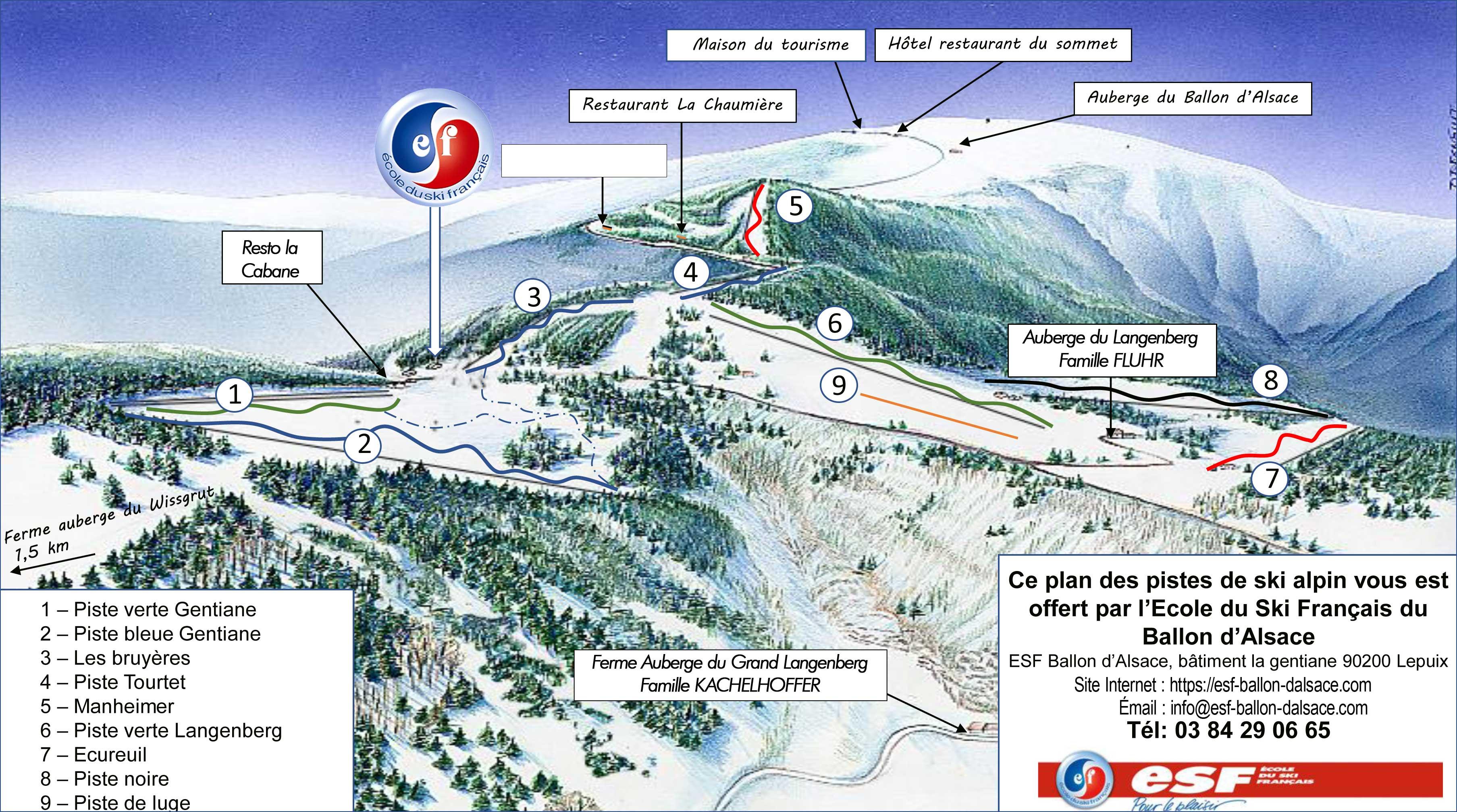 Plan des pistes offert par l'ESF du Ballon d'Alsace